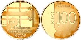 100 Euro, Gold, 2010, UNESCO Welthauptstadt Des Buches 2010 Ljubljana, Fb. 27, 900er Gold, 7 G,  In Kapsel, Mit Zertifik - Slovenia