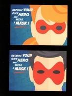 2 Cartes Humour Covid Virus Mask Masque - Santé