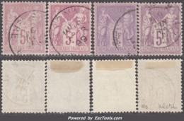 Les Quatre Nuances Du 5Fr Sage (lilas, Lilas Vif, Violet, Violet Foncé) Oblitérés TB Et Centrés (Y&T N° 95, Cote +500€) - 1876-1898 Sage (Type II)
