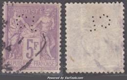 5Fr Sage Violet/lilas Aspect TB Perforé CL (Y&T N° 95, Cote: 90€) - 1876-1898 Sage (Type II)