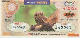Corée Du Sud. South Korea.Hibou. Owl . Billet De Loterie - Búhos, Lechuza