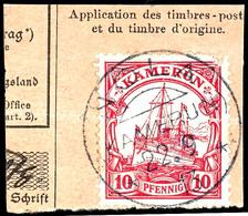 NOLA 22. 9 13 Auf Schönem Briefstück (Postanweisung) 10 Pfennig Kaiseryacht, Idealer Abschlag, Signiert Dr. O Und Geprüf - Colonie: Cameroun