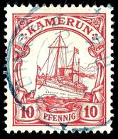 OSSIDINGE (blau), Auf 10  Pfennig Kaiseryacht, Klarer Abschlag.  O - Colonie: Cameroun