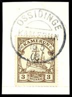 OSSIDINGE 16 5 08 Auf Luxus-Briefstück 3 Pfennig Kaiseryacht, Idealer Abschlag, Geprüft Eibenstein BPP  BS - Colonie: Cameroun