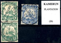 PLANTATION 8 / 12  13, Zwei Klare Abschläge Auf Senkrechtem Paar 5 Pfennig Kaiseryacht, Geprüft Pauligk, Dazu 7 / 2 10 A - Colonie: Cameroun