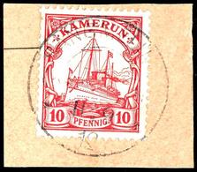 SANGMELIMA 11. 9 12 Auf Luxus-Briefstück 10 Pfennig Kaiseryacht, Zentraler Abschlag, Geprüft Bothe BPP Seltene Abstempel - Colonie: Cameroun