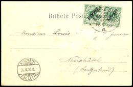 """Seepost Linie Hamburg Westafrika Kennzahl VI - 19. 9 00 - Auf Ansichtskarte ,Funchal Madeira Rue Do Aljube"""" Mit 2 X 10 P - Colonie: Cameroun"""
