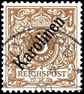 "3 Pfennig Krone/Adler Mit Diagonalem Aufdruck ""KAROLINEN"", Tadellos, Gestempelt ""PONAPE"", Geprüft Pauligk, Mi. 850.-, Ka - Colonie: Carolines"