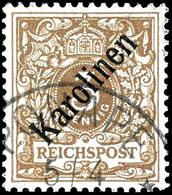 """3 Pfennig Krone/Adler Mit Diagonalem Aufdruck """"Karolinen"""", Tadellos, Gestempelt """"PONAPE"""", Mi. 850,- (alter Ausruf 250),  - Colonie: Carolines"""