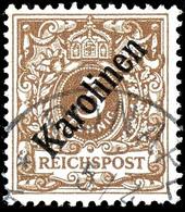 "3 Pfg Krone/Adler Mit Diagonalem Aufdruck, Tadellos Gestempelt ""PONAPE 5/4"" (00), Kabinett, Gepr. Bühler (doppelt), Tust - Colonie: Carolines"