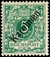 """5 Pfennig Krone/Adler Mit Diagonalem Aufdruck """" Karolinen """", Tadellos Postfrisch, Doppelt Geprüft Bothe BPP, Mi. 2000,-, - Colonie: Carolines"""