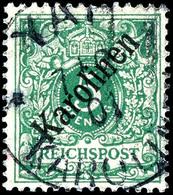 """5 Pfennig Krone/Adler Mit Diagonalem Aufdruck """"Karolinen"""", Tadellos, Stempel """"YAP 7.2.01"""", Doppelt Geprüft Bothe BPP, Mi - Colonie: Carolines"""