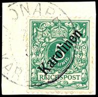 """5 Pfennig Krone/Adler Mit Diagonalem Aufdruck """" Karolinen """", Tadelloses Briefstück, Doppelt Geprüft Bothe BPP, Mi. 750.- - Colonie: Carolines"""