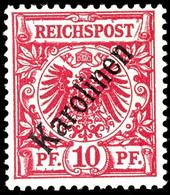 """10 Pfennig Krone/Adler Mit Diagonalem Aufdruck """" Karolinen """", Tadellos Postfrisch, Geprüft Richter, Mi. 200.-, Katalog:  - Colonie: Carolines"""