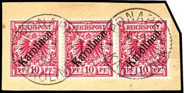 """10 Pfennig Krone/Adler Mit Diagonalem Aufdruck """" Karolinen """", Tadelloser Dreierstreifen Auf Briefstück Mit Stempel """" PON - Colonie: Carolines"""