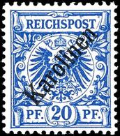 """20 Pfg Krone/Adler Mit Diagonalem Aufdruck """"Karolinen"""", Tadellos Postfrisch, Gepr. Bothe BPP, Mi. 700.-, Katalog: 4I ** - Colonie: Carolines"""