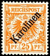 """25 Pfennig Krone/Adler Mit Diagonalem Aufdruck """" Karolinen """", Tadellos Ungebraucht, Mi. 1800,-, Katalog: 5I * - Colonie: Carolines"""