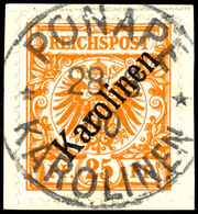 """25 Pf Diagonalaufdruck Tadellos Und Ideal Zentrisch Gestempelt """"PONAPE 28/8 00"""" Auf Briefstück, Dopp. Tiefst Gepr. Bothe - Colonie: Carolines"""
