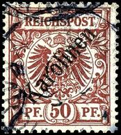 """50 Pfennig Krone/Adler Mit Diagonalem Aufdruck """"Karolinen """", Tadellos, Gestempelt """"PONAPE"""", Fotoattest Dr. Steuer VÖB, M - Colonie: Carolines"""