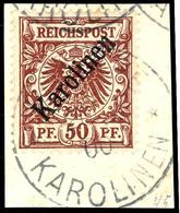 """50 Pfennig Krone/Adler Mit Diagonalem Aufdruck """" Karolinen """", Tadelloses Briefstück, Attest Dr. Hartung, Mi. 1.800.-, Ka - Colonie: Carolines"""