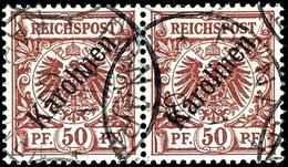 """50 Pfg Krone/Adler Mit Diagonalem Aufdruck """"Karolinen"""", Waagerechtes Paar, Gestempelt """"Ponape 7/1 00"""", Fotoattest Steuer - Colonie: Carolines"""
