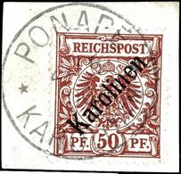 """50 Pfennig Krone/Adler Mit Diagonalem Aufdruck """"Karolinen"""", Gestempelt """"PONAPE 27.6.00"""" Auf Briefstück, Bis Auf Geringe  - Colonie: Carolines"""