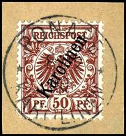 """3 Bis 50 Pfennig  Krone/Adler Mit Steilem Aufdruck """" Karolinenen """", Luxussatz Mit Vollen Stempelabschlägen """" PONAPE """" Je - Colonie: Carolines"""