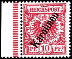 """10 Pfennig Krone/Adler Mit Steilem Aufdruck """" Karolinen """", Tadellos Postfrisch Vom Linken Rand, Ohne Signatur, Mi. 550,- - Colonie: Carolines"""