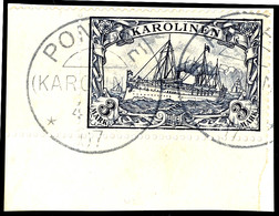 """3 Mark Kaiseryacht, Eckrandstück Unten Links Auf Briefstück Mit Entwertung Durch Zwei Klare Abschläge """"PONAPE (KAROLINEN - Colonie: Carolines"""