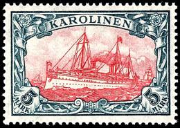 5 Mark Kaiseryacht, Tadellos Postfrisch, Ohne Signatur, Mi. 180,-, Zuschlag 174. Auktion = 110,-, Katalog: 22IIB ** - Colonie: Carolines