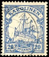 ANGAUR, Guter Teilabschlag Auf 20 Pfennig Kaiseryacht, Geprüft Pauligk, ARGE 50,-  O - Colonie: Carolines