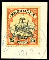 KAUMI 15 / 10 02 Auf 5 Pfennig Kaiseryacht  - Zentraler Klarer Abschlag, Geprüft Pauligk,  KIATSCHOU  Deutsche Post 24 / - Colonie: Carolines