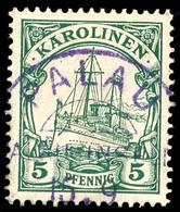 PALAU 15. 9 ??, Zentraler Klarer Abschlag Auf  5 Pfennig Kaiseryacht, Geprüft Pauligk, ARGE 40,-  O - Colonie: Carolines