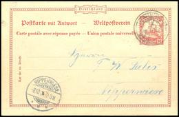 PONAPE,  Dienstsiegel Auf GS-Doppelkarte (Mi. P10) Von Ponape (geschrieben 6. August 1905) Nach Nipperwiese, Ankunftstem - Colonie: Carolines