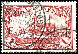 "Neu-Guinea-Zweiglinie (Hongkong) * A - 9 / 11 04 (Dampfer ,Medan"") Auf 1 Mark Kaiseryacht Geprüft Köhler - ARGE 400,- Au - Colonie: Carolines"