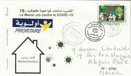 Maroc. Enveloppe De 1er Jour  2020. Fonds Covid-19. 3.75 + 5 Dh. Cachet Postal. - Disease