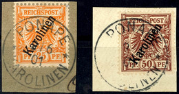 25 Pfg Und 50 Pfg Steilaufdruck Je Tadellos Auf Briefstück, Mi. 140.-, Katalog: 5II+6II BS - Colonie: Carolines