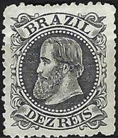 "BRAZIL # 056 -  DOM PEDRO Ll  -  10R$ Black ""  CABEÇA GRANDE""  1882-1883  MH - Neufs"