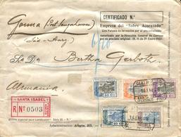"""GUINEA. Ø 167, 168, 170, 172 Y 173 En Carta Certificada De Santa Isabel A Alemania, El 14/1/1928. Mat. """"CERTIFICADO/SANT - Guinea Española"""