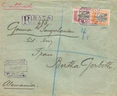 """GUINEA. Ø 170 Y 172 En Carta Certificad De Bata A Alemania, El 13/4/1930. Mat. """"CERTIFICADO/BATA"""" En Violeta Que Se Repi - Guinea Española"""