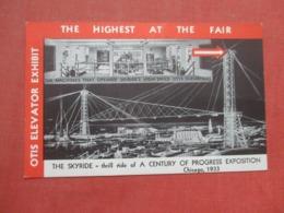 Otis Elevator Exhibit   The Skyride Thrill Ride Century Of Progress Expo Chicago 1933      Ref 4348 - Werbepostkarten