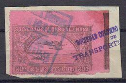 Colombie 1920 Poste Aerienne Yvert 22 Oblitere Sur Fragment - Kolumbien
