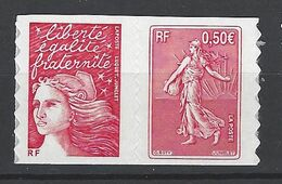 FRANCE 2003 PAIRE P3619 TIMBRE 3619 3419a  CENTENAIRE DE LA SEMEUSE DE ROTY - France