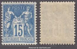 15c Sage Bleu FONCE Neuf * TB (Y&T N° 90 , Cote  +++€) - 1876-1898 Sage (Type II)