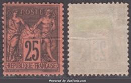 *RARETE* 25c Sage Noir/rouge Neuf (*) Sans Gomme TB (Y&T N° 91, Cote Sans Gomme 500€) - 1876-1898 Sage (Type II)