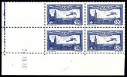 ** N°6b, 1F50 Outremer-vif En Bloc De Quatre Coin De Feuille Daté Du 24/10/1930, SUPERBE (certificat) - Poste Aérienne