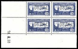 ** N°6c, 1F50 Outremer Perforé 'E.I.P.A.30' En Bloc De Quatre Coin De Feuille Daté Du 16/9/1930, Quelques Points De Gomm - Poste Aérienne