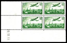 ** N°14, 50f Vert En Bloc De Quatre Coin De Feuille Daté Du 20.12.35. TTB (certificat) - Poste Aérienne