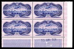 ** N°15, 50F Burelé En Bloc De Quatre Coin De Feuille Daté Du 15 Juin 1936, SUPERBE (certificat) - Poste Aérienne