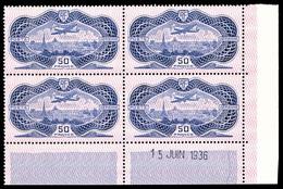 ** N°15, Burelé, 50F Outremer En Bloc De Quatre Coin De Feuille Daté Du 15 Juin 1936, 2ex Gomme Légèrement Marbrée, TTB  - Poste Aérienne